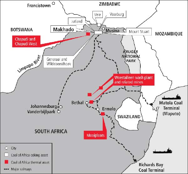 coal lines map in south africa