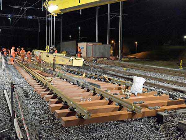 installation of rail sleepers